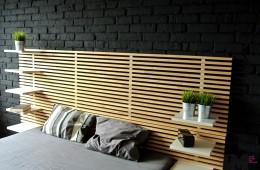 Czarna cegła dekoracyjna – sypialnia loft
