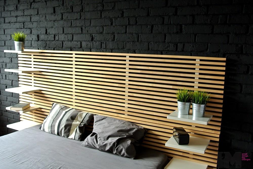 Czarna cegła dekoracyjna sypialnia loft imindesign