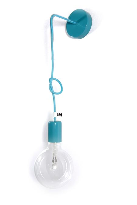Lampa kinkiet kolorowe kable w oplocie lampa loft sklep imindesign turkusowy2