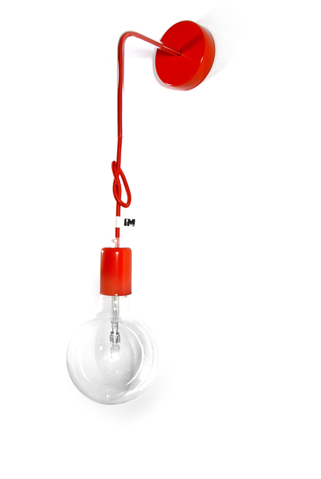 Lampa loft kinkiet kolorowe kable w oplocie lampa loft sklep imindesign czerwony2