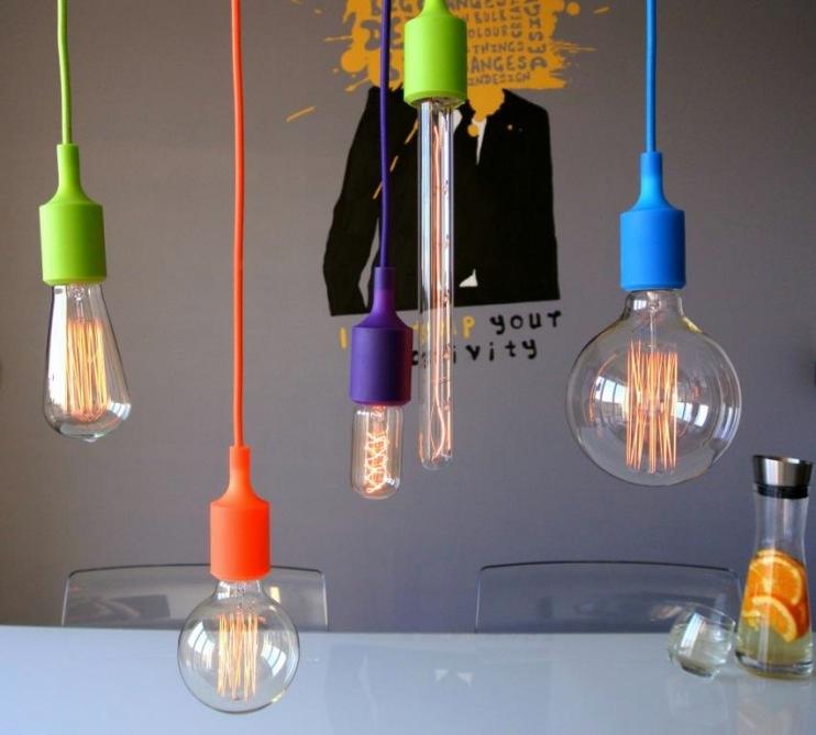 Lampy loft kolorowe kable silikonowe oprawki e27jpg